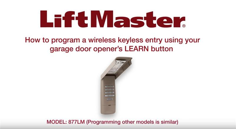 DIY Liftmaster - How to program a keyless entry